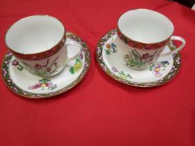 上世纪60年代广彩瓷器---雍容华贵,精美纯手绘,描金重彩,完美品相,珍藏品级。广彩茶杯一对+一对杯碟。(4件套)