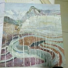 吴冠中油画。山水风景图。