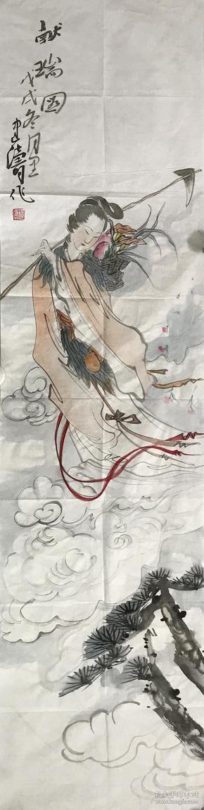 【精品人物畫 保真】【強烈推薦】曹建濤/藝名老五,獨具特色的水墨人物畫家,1975年生于山東鄆城,山東省美術家協會會員,中華收藏家協會會員,齊魯書院特邀畫家。佛自人來,禪在妙悟。他的畫筆之下充滿著智慧與機趣的禪意。人物畫作品12《獻瑞圖》(35×138cm)