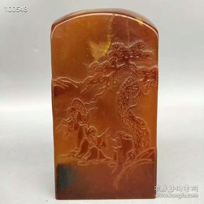 旧藏乌鸦皮俏色红田黄透料《秋林三老》满汉文皇帝玉玺印章尺寸如图,重2618克