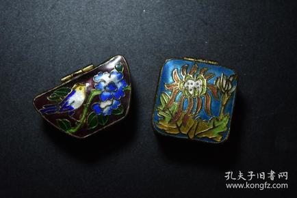 掐丝珐琅 胭脂盒2个 极美