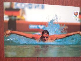 外国游泳体育明星明信片一张,(空白)