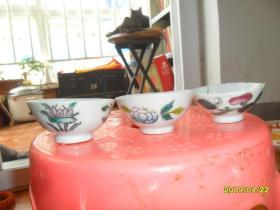 古瓷器清代、民国四季花茶盏3个