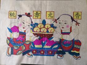 精美白绵纸版画!!清代版80年代印潍县杨家埠木版年画社出品*香元寿桃