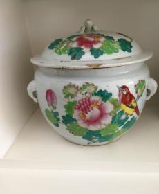民国粉彩陶瓷罐(有题款~饮和食德)