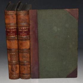 【特价】1866年The Works of Burns 彭斯诗文全集 全铜版画插图本初版本 2册全 3/4小牛皮豪华装桢品相佳 58张原品铜版画 超大开本