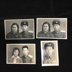 50年黑白老照片一组,四张,军装,结婚照,夫妻照