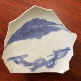 青花梧桐叶纹连底瓷片