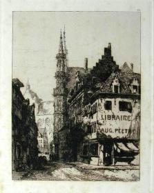 """1877年1版""""真正的蚀刻铜版画""""《比利时卢万的酒店尖顶与远处的教堂》—""""Ernest George"""" 作品 版内签名 36x26cm"""