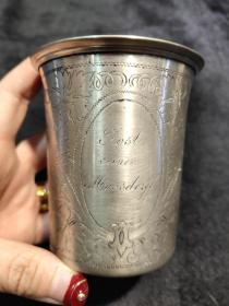 西洋 欧洲古董 餐具 银器 银杯 Lost 刻花 74克