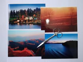 风光摄影(长城、夕阳羊群、雪原马群、落日下港口灯塔、等)摄影照片7张(17.5乘12.7厘米)