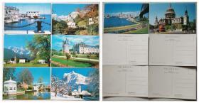 世界风光明信片-美国、德国、奥地利、法国、荷兰、瑞士、澳大利亚、英国8张  丹东市邮电局发行