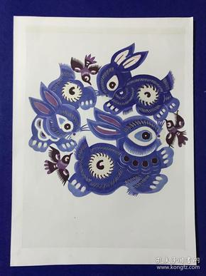 精致漂亮的 手工剪紙作品 16開大小 兔子 很漂亮。