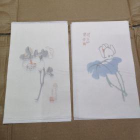 荣宝斋木板水印老信笺 陈半丁花卉笺 2种 14张