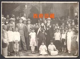 民国老照片,早期西北边疆地区结婚照大合影
