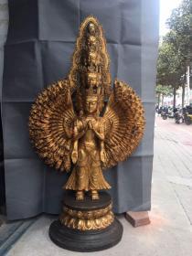 大唐貞觀年施款  純銅精雕千手觀音像一尊 長約67厘米,寬約30厘米,高約127厘米,28000出,全國包物流。