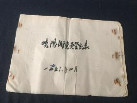 1956年浙江省温州市平阳县晓阳乡党员登记表   8开 一册