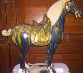錾刻包金蓝釉马