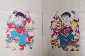 精美白绵纸!!80年代印改革版画潍县杨家埠木版年画社出品*儿童戏禽一对