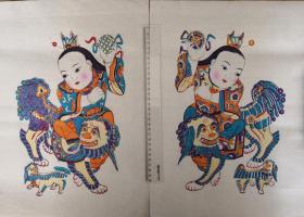 精美白绵纸版画!!清代版80年代印潍县杨家埠木版年画社出品*狮童进门一对