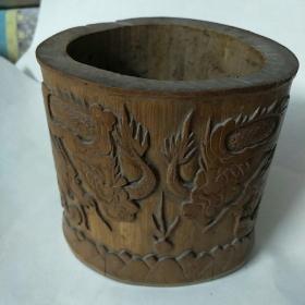 竹雕笔筒(两条龙戏珠及葡萄浮雕画)