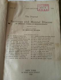 南满洲时期沈铁大连医院馆藏医学史料the journal of nervous and mental disease1926