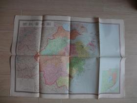 浙江省地图(地图后边有字迹)