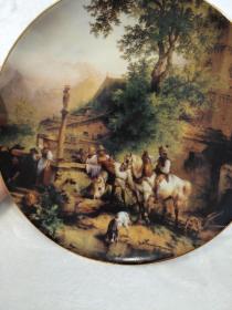 西洋 欧洲 奥地利 装饰盘 挂盘 限量版 1992 直径20cm奥地利品牌WILHELMSBURG 奥地利画家Friedrich Gauermann作品