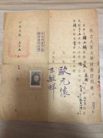 1948年 私立大夏大学肄业证明书