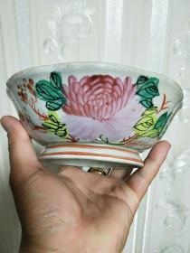 包老,民国老瓷器,纯手工绘画【粉彩花卉碗】摆件