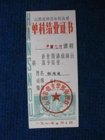 1981年山西省师范专科函授单科结业证书(平面几何)