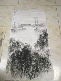 张文俊国画两幅合售,保真(大的134×66.小的65×32)