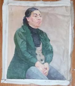 手绘布面油画:王涵玉(人物 60x50 )