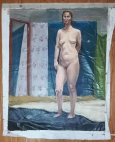 手绘布面油画:无款20190607-01(人物 79x64 )