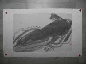 """【名家书画】著名美术家/""""实验水墨""""的领军人物 胡又笨水墨画《太白醉卧图/66*42》"""