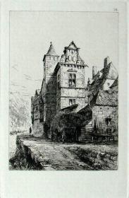 """1877年1版""""真正的蚀刻铜版画""""《比利时于伊默兹河畔的老修道院》—""""Ernest George"""" 作品 版内签名 36x26cm"""
