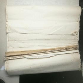 【老宣纸】 七八十年代四尺整纸88张,刀口印看不清,多黄斑!