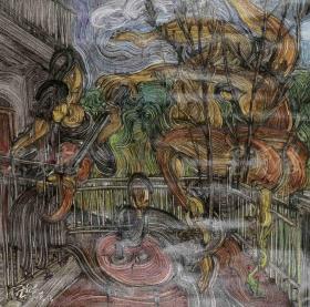 """著名画家、自由艺术家 邓语光 布面油画作品""""童话""""一幅(尺寸:60*60cm;作品由《中国美术市场报》直接得自于艺术家本人!)HXTX103817"""