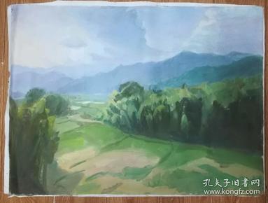 手绘布面油画:朝戈(风景 80x60 )