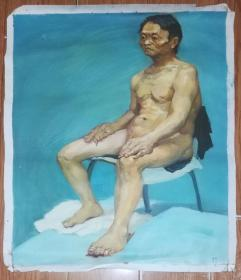 手绘布面油画:无款20190607-11(人物 60x50 )