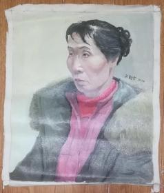 手绘布面油画:文新宇(人物 55x45 )