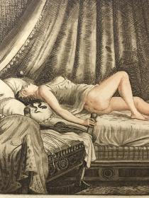 近代西洋情色蚀刻版画 法国艺术家弗雷迪洛FREDILLO《保姆的梦想》 1930年左右