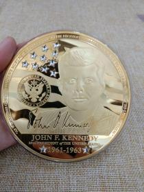 纪念章 纪念牌 德国 限量版 铜镀金 镶施华洛世奇 10cm 376克 美国总统肯尼迪