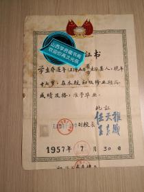 1957年天津市第十一中学初中三年级学校毕业证,校长任天雅,王来樾