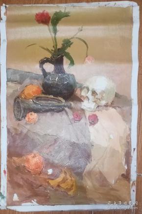 手绘布面油画:无款20190607-20(静物 80x50 )