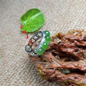 天然玉器和田玉碧玉戒指 love情侣款活口指环