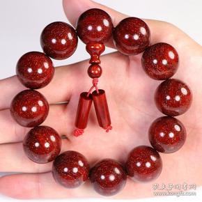 小叶紫檀红石色手链