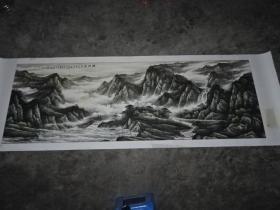 画于四川画院-特大-山水画【峡江春韵】画心规格280x94cm-包画家真迹