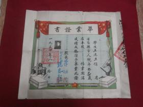 1950年---1954年沈阳市皇姑区【毕业证书】都是同一人50年代三份毕业证书,带印章手戳等多枚,35*31厘米带钢印,29*26厘米,29*26厘米,带学生照片,书影如以一实物拍照