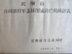 抚顺市各剧团年末采用流动演员统计表(油印本)